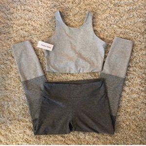 Outdoor voices grey gradient yoga bra & pants set